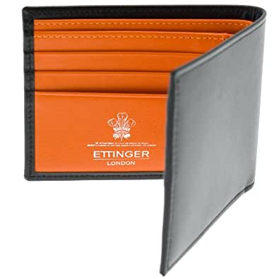 Ettinger Men Leather Billfold Wallet Black With Orange Interior Shoes