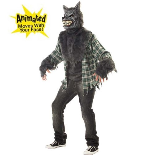 Werewolf Adult Cosplay Costume w/ Animated Wolf Mask (Size M, L)