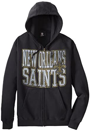 NFL New Orleans Saints Touchback V Full Zip Hooded Sweatshirt, Black, Small by VF LSG