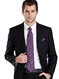 Landisun SILK Paisleys Mens SILK Tie Set: Necktie+Hanky+Cufflinks 61W Dark Purple, 3.25\