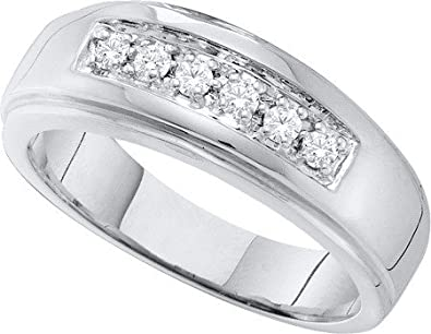 DIAMOND BAND 0.25CT DIAMOND FASHION MENS BAND GQ0656/W-10K Size O
