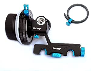 Fotasy FF2B Pro Grade 15mm Rod Rig Follow Focus for HDSLRs and Camcorders, Quick Release, A/B Stop, Tension Screw (Blue/Black)