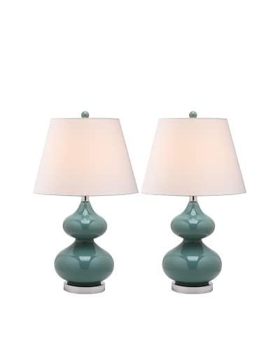 Safavieh Set of 2 Eva Double Gourd Glass Lamps, Marine Blue