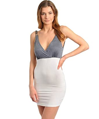 G2 Fashion Square Women's Deep V-Neck Contrast Sexy Dress(DRS-EVP,OWH-L)