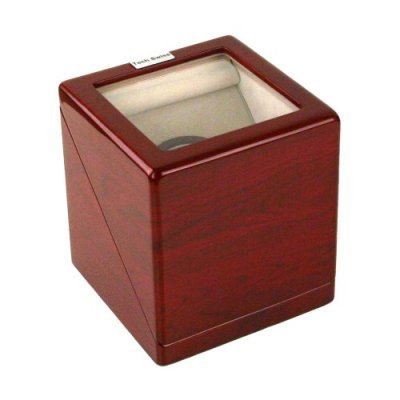 New Single Square Watch Winder for Automatic Watches with Built IC Timer Battery AC or Battery Operation Cherry Finish