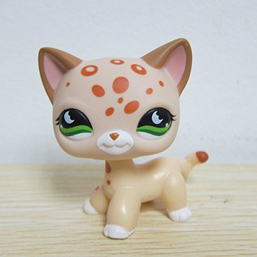 GOOD LUCK CHARM Littlest Pet Shop LPS Cat Leopard Cheetah Tan With Orange Spots Green Eyes + GIFT (Good Luck Party Supplies compare prices)