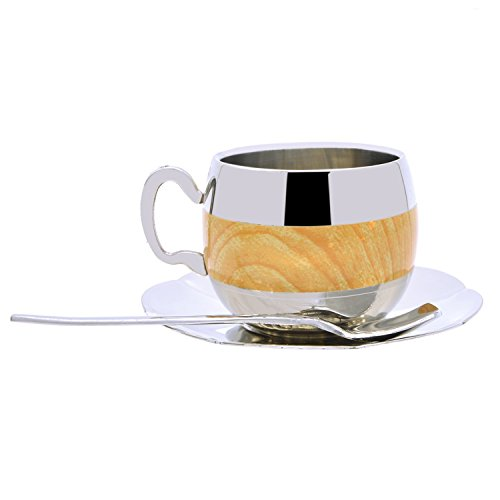 Coffee Cup Set Yummy Sam Stainless Steel 140ml Coffee / Milk Cup with Spoon and Saucer Double Wall Beverage Mug / Coffee Cup Coffee Mug Home Gadget Kitchen tool (Elegant Coffee Cups compare prices)