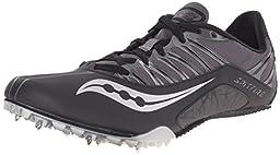 Saucony Men\'s Spitfire Track Spike Racing Shoe, Black/Grey, 12 M US