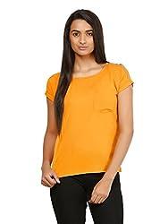 Mayra Women's Crepe Top (1604T08345_M, Yellow,)