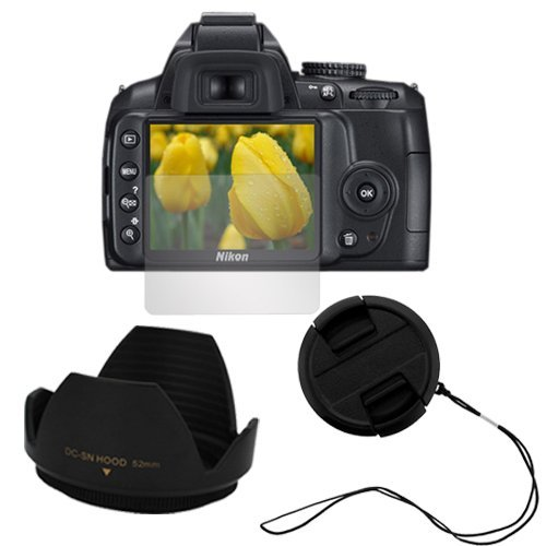 For Nikon Digital SLR D3000 Accessories Kit : 52mm Camera Snap on Lens Cap with Strap + 52mm Flower Lens Hood + LCD Screen Protector By GTMax