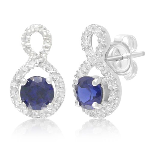 Sterling Silver Created Blue Sapphire and Created White Sapphire Earrings