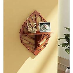 Onlineshoppee Beautiful Wooden Decorative Corner Wall Shelf Size LxBxH-12x5x15.5 Inch AFR1368