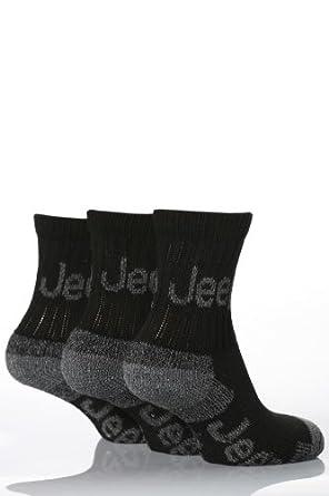 3 pairs Boys Jeep Terrain Walking Hiking Socks (6-8, Black)