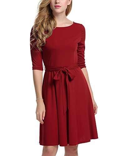 Meaneor Womans 3/4 Sleeve Round Neck Fit and Flare Casual Cocktail Dress w/ Belt, X-Large, Red