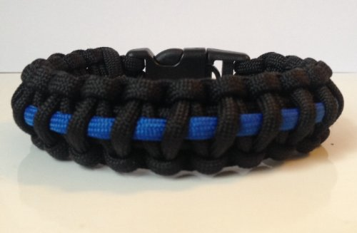 Police Blue Line Tactical Paracord Survival Bracelet With Handcuff Key Buckle (See Description For Size Suggestion) - 7.5 Inch (Fit Size)