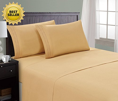 HC Collection Bed Sheet & Pillowcase Set HOTEL LUXURY 1800 Series Egyptian Quality Bedding Collection! Deep Pocket, Wrinkle & Fade Resistant,Luxurious,Comfortable,Extremely Durable(Full, Camel Gold) (Royal Hotel Collection Bedding compare prices)