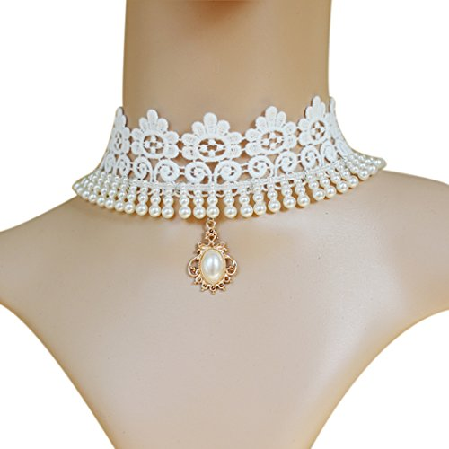 Time-Pawnshop-Elegant-Dresses-Accessories-White-Lace-Pearl-Choker-Necklace
