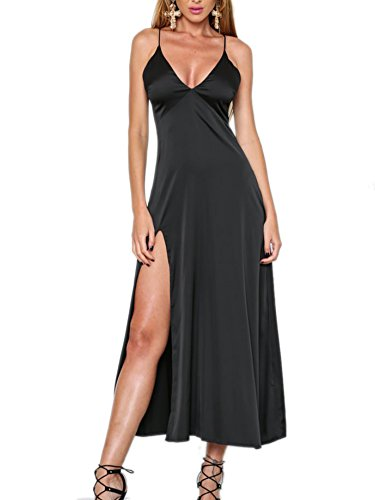 Simplee Apparel Women's Sleeveless V Neck Evening Party Satin Slip Dress Pajama