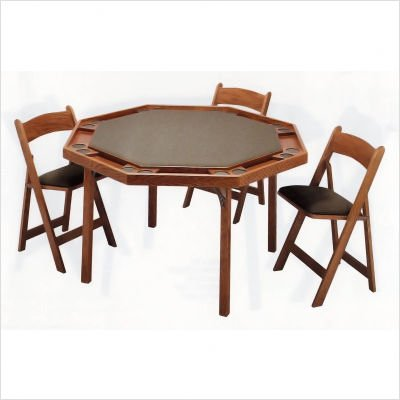 "Kestell Furniture M-91 - X 52"" Maple Contemporary Folding Poker Table Set"