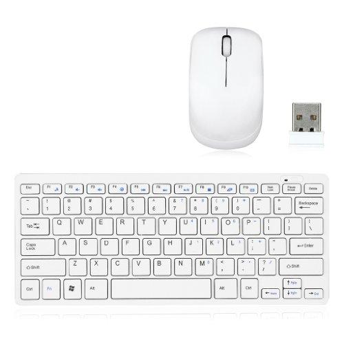Meiego 2.4GHz Slim Optical Wireless Radio 78 Keys KeyBoard and Mouse Kit USB Set for Apple Mac PC Laptop