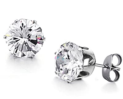 JBG New Jewellery Pure White Shiny Round Crystal Diamond Titanium Earrings Stainless Steel Charming Stud Earrings For Men/Women in a Nice Gift Box