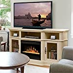 "Portobello 68"" TV Stand with Electric Fireplace Insert Style: Glass Ember, Finish: Parchment by Dimplex"