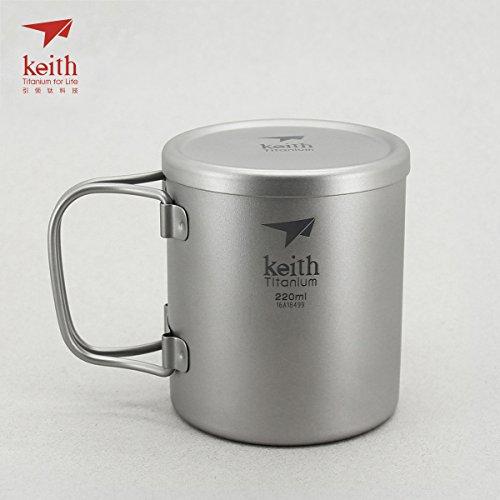 Keith Titanium Double-Wall Mug with Folding Handle and Lid - 7.4 fl oz