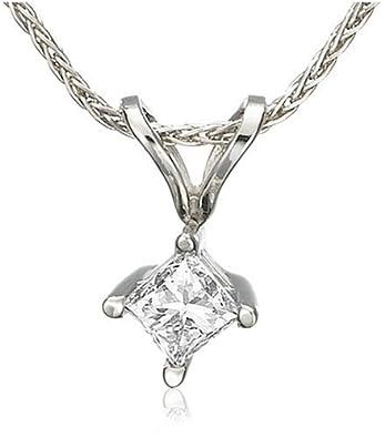 Platinum Princess-Cut Diamond Solitaire Pendant