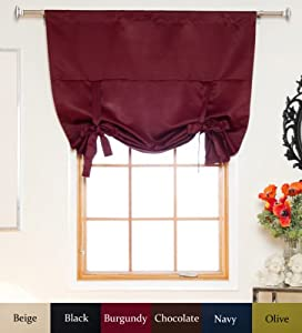 Burgundy Rod Pocket Thermal Insulated Blackout Tie Up Shade Curtain, 46 Inch Wide By 64 Inch Long Panel from Blackout Curtain