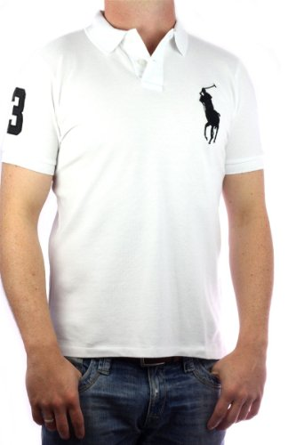 Polo by Ralph Lauren Big Pony Mens Polo-Shirt white, slim fit, men tee