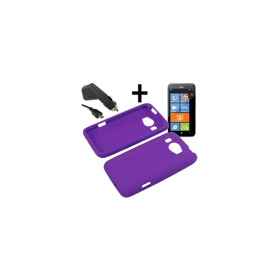 AM Soft Sleeve Gel Cover Skin Case for AT&T HTC Titan II + Car Charger Purple