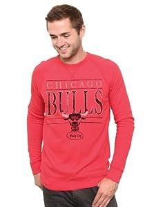 NBA Chicago Bulls Mens Vintage Solid Long Sleeve Fleece Shirt, Licorice by Junk Food