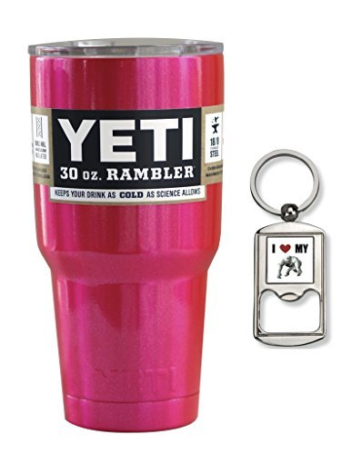 YETI Rambler Cup Custom Colors, 30 oz, Stainless Steel Tumbler,Travel Mug, Powder Coated (Glitter Pink)