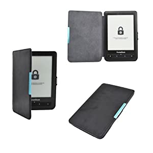 Premium ultra mince étui en cuir housse coque fermeture magnétique pour PocketBook Touch Lux 623 et PocketBook Touch 622 - Couleur Noir