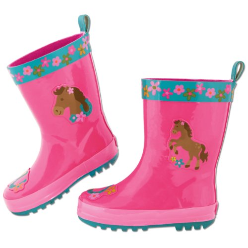 Stephen Joseph Little Girls'  Rain Boots, Girl Horse, 8