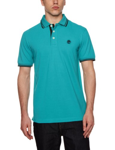Timberland Short Sleeve Tipped Polo Logo Men's T-Shirt Lake Blue Small