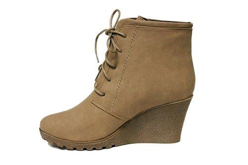Reneeze CHERRY-2 Women High Heel Wedge Ankle Boots - Beige