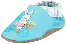 Robeez Infant Toddler Girl Slip on Shoes Double Dutch Angel Blue Bunny 18-24 Months