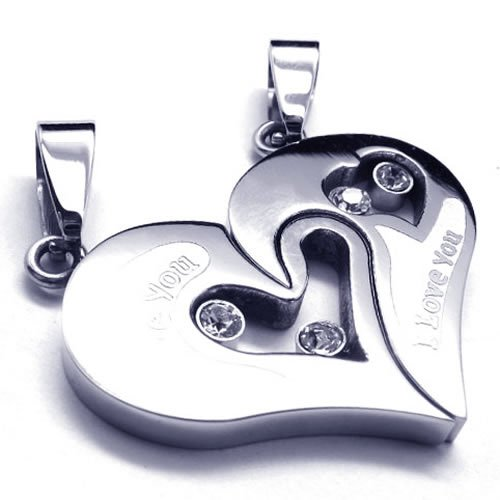 KONOV Jewelry 2pcs His & Hers Couples Gift Heart