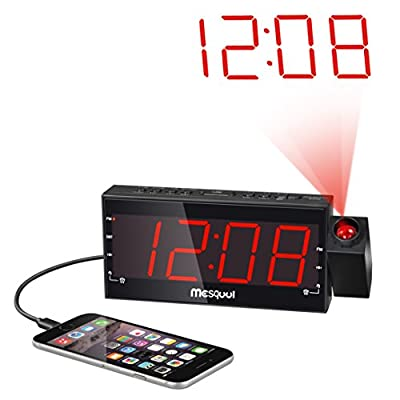 Mesqool Digital Dual Alarm FM Dimmable Projection Clock Radio 1.8 Inch LED Display with USB Charging,Snooze,Sleep Timer,Battery Backup Functions