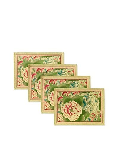 April Cornell Set of 4 Chinese Flower Placemats, Chartreuse
