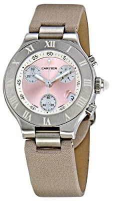 Cartier Women's W1020012 Chronoscaph Pink Sunburst Dial Watch