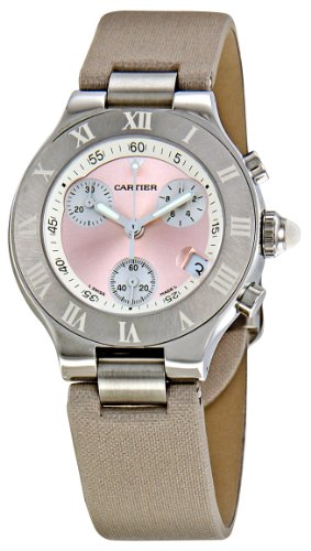 Cartier W1020012 Womens Chronoscaph Pink Sunburst Dial Watch