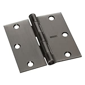 "Stanley Hardware CD741 3-1/2"" X 3-1/2"" Square Corner Residential Hinge in Antique Nickel"