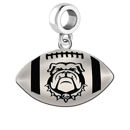 Georgia Bulldogs Sterling Silver Football Cut Out Drop Charm Fits All European Style Charm Bracelets