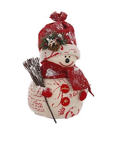 Winward Burlap Snowman, Red/Cream