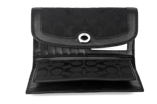 Coach   Coach Park Signature Checkbook Wallet F49145