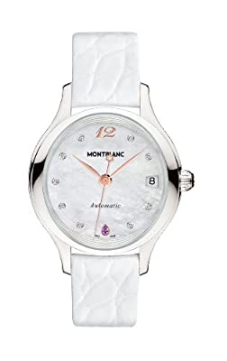 Mont Blanc Princesse Grace de Monaco White Mother of Pearl with Diamonds Dial White Leather Ladies Watch 109274