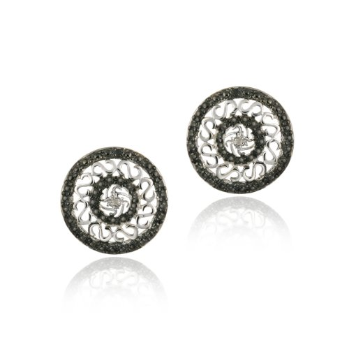 Sterling Silver Black & White Diamond Accent Round Filigree Earrings