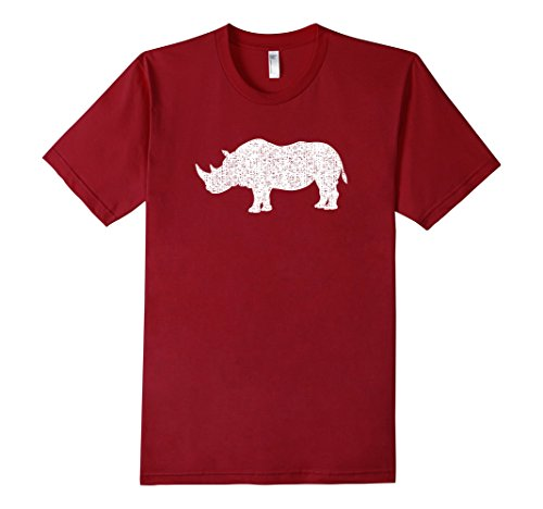 Men's Distressed Rhinoceros Or Rhino Graphic T-Shirt Small Cranberry
